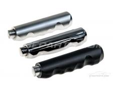 Silver-Polished-Satin Black Handbrake Grips